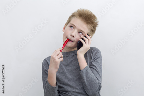 Boy reflects speaking by phone