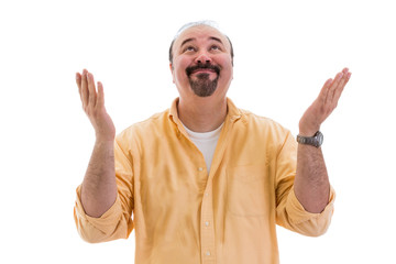 Happy man celebrating a success or solution