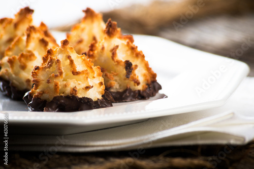 Plate of coconut chocolate macaroons