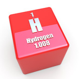 Hydrogen symbol on glossy red cube poster