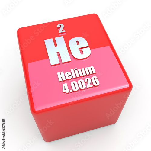 Helium symbol on glossy red cube