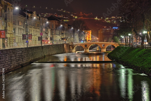 Night view of  Latin Bridge, Sarajevo