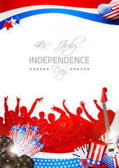Vector Independence Day Background with Theme of Music