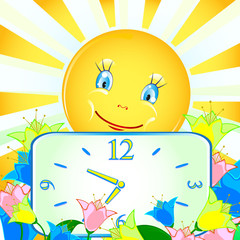 cheerful background with the sun and the clock