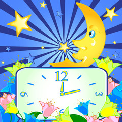 cheerful background with the moon and the clock