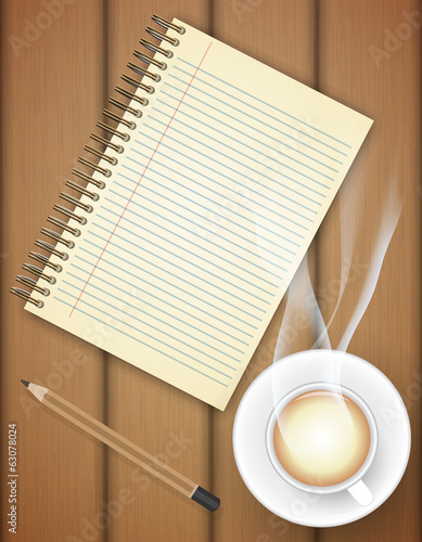 Blank notebook with coffee cup on table- Vector