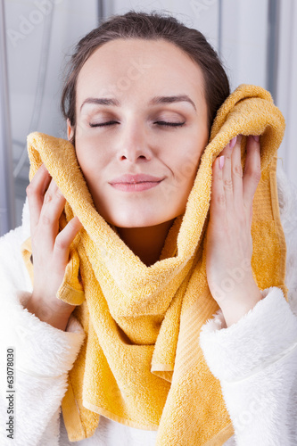 Enjoying the softness of a towel