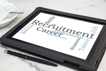 tablet with recruitment word cloud