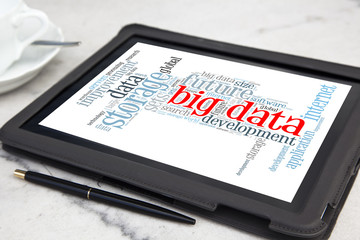 tablet with big data wotd cloud