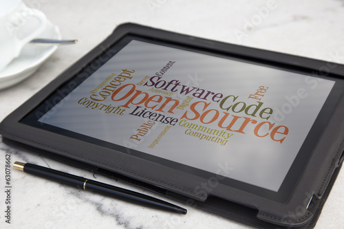 tablet with open source software word cloud
