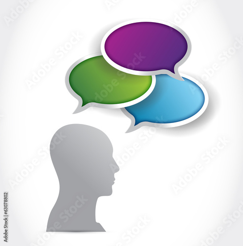 avatar head cloud speech bubbles. illustration
