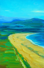 sea landscape with a beach and mountains, painting by oil on can