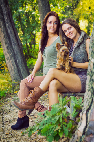 Beautiful girlfriends are in the park with their dog, in autumn