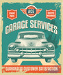 Vintage sign - Advertising poster - Classic car - garage