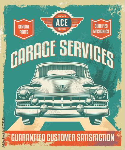 obraz lub plakat Vintage znak - Plakat reklamowy - Klasyczny samochód - garaż
