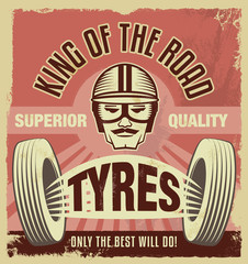 Vintage retro style sign. Metal tin advertising poster