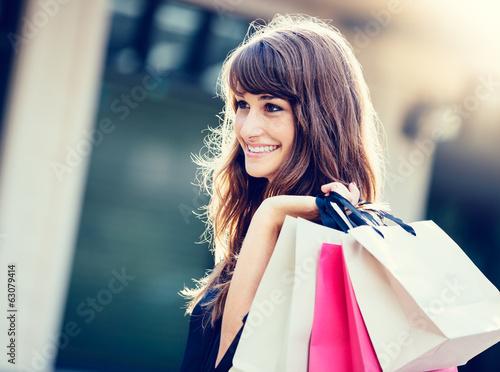 Leinwanddruck Bild Happy Woman Shopping