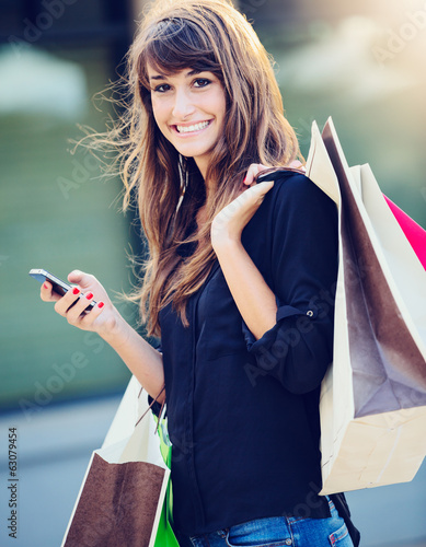canvas print picture Happy Woman Shopping