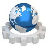 3d earth globe with gear