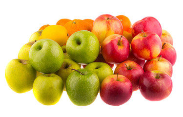 Oranges, red and green apples isolated on white background.
