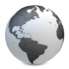 3d earth globe black