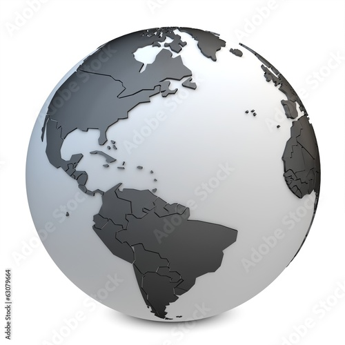 3d earth globe black