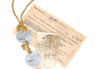 World War 1 era memories from 1918.Dog tags,photo,postcard.