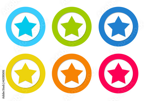 Set of rounded icons with star symbol