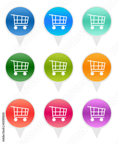 Set of rounded icons for markers with shopping cart symbol
