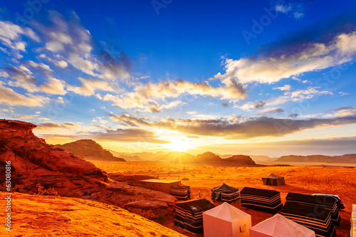 Scenic view of Jordanian desert sunset in Wadi Rum, Jordan.