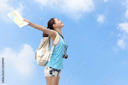 Happy woman traveler relax feel free