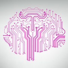 Circuit board computer style brain vector technology background