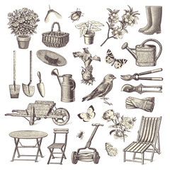 collection of vintage garden design elements
