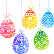 Watercolor painted ornate vector Easter eggs
