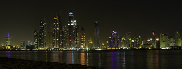 Beautiful Dubai panoramic view at night time, UAE