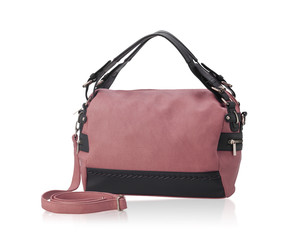 Beautiful pink woman fashion handbag isolated on white