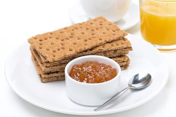 fresh breakfast - crisp bread with jam