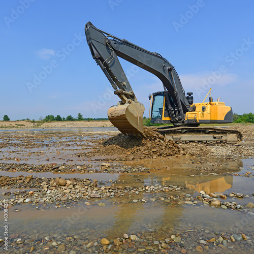 Gravel excavated in the mainstream of the river