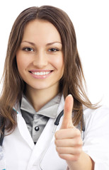 Doctor with thumbs up gesture, over white
