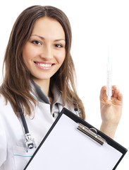 Doctor with syringe and clipboard, over white