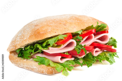 Tomato, salami and pepper sandwich