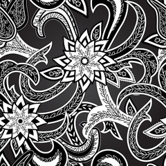 Paisley Colorful Seamless Background.