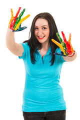 Joyful woman with colorful hands