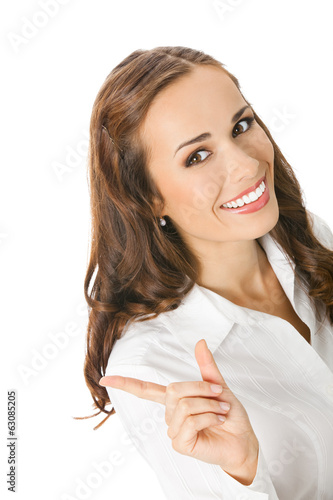 Businesswoman showing, on white