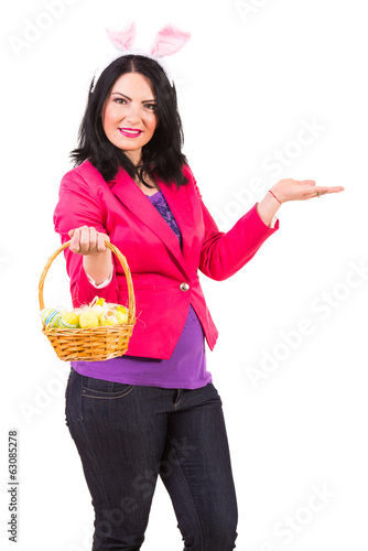 Woman with Easter basket welcome