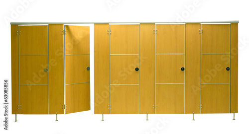 Restroom stall doors isolated on white