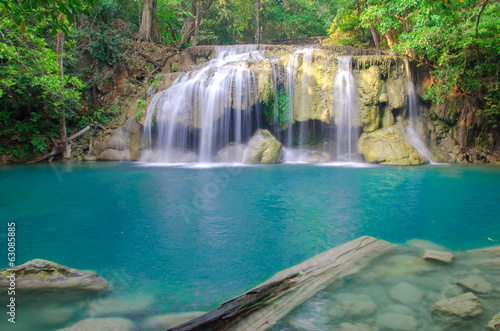 Waterfall in Deep forest at Erawan waterfall National Park,