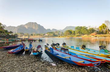 long tail boats on Song river, Vang Vieng,Laos