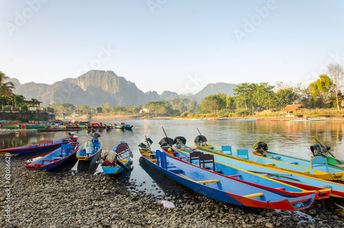 long tail boats on Song river, Vang Vieng,Laos