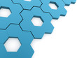 Blue hexagonal gears background